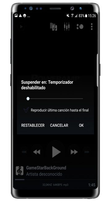 Temporizador en Poweramp