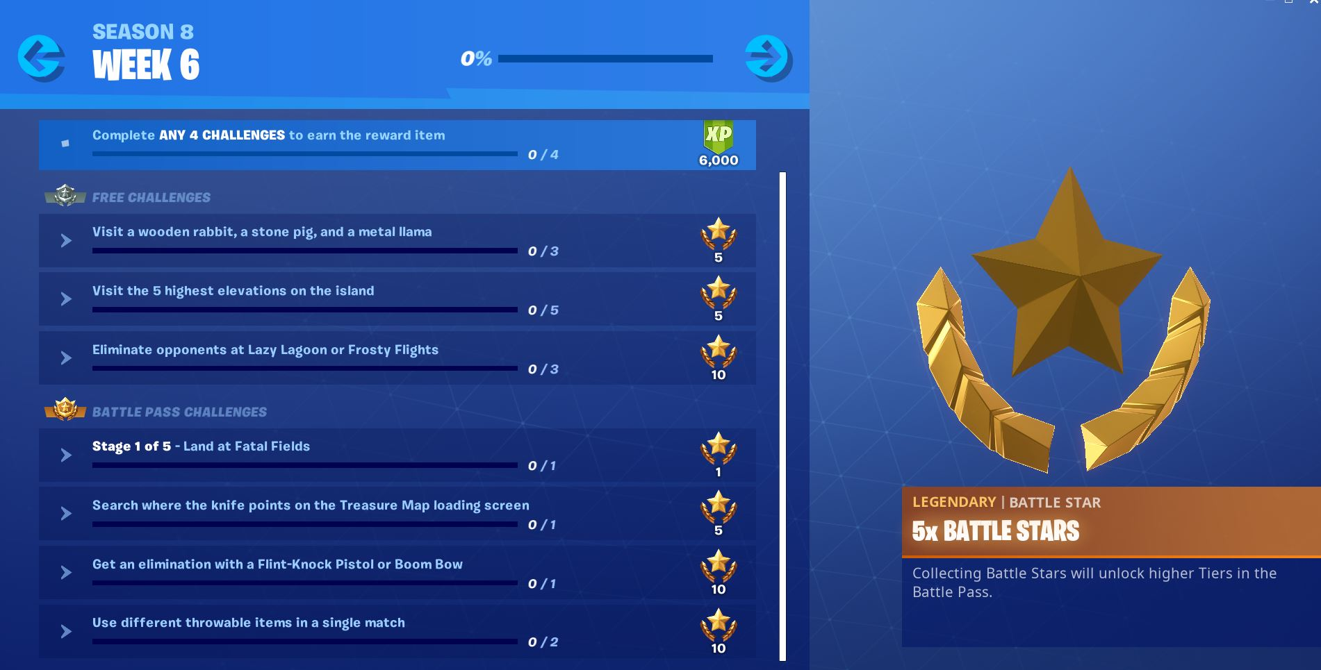 Fortnite Season 8, Week 6 Challenges
