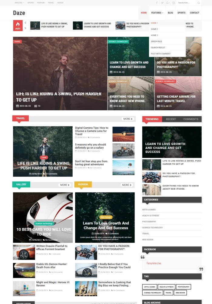 Daze Best Free Responsive Blogger Templates