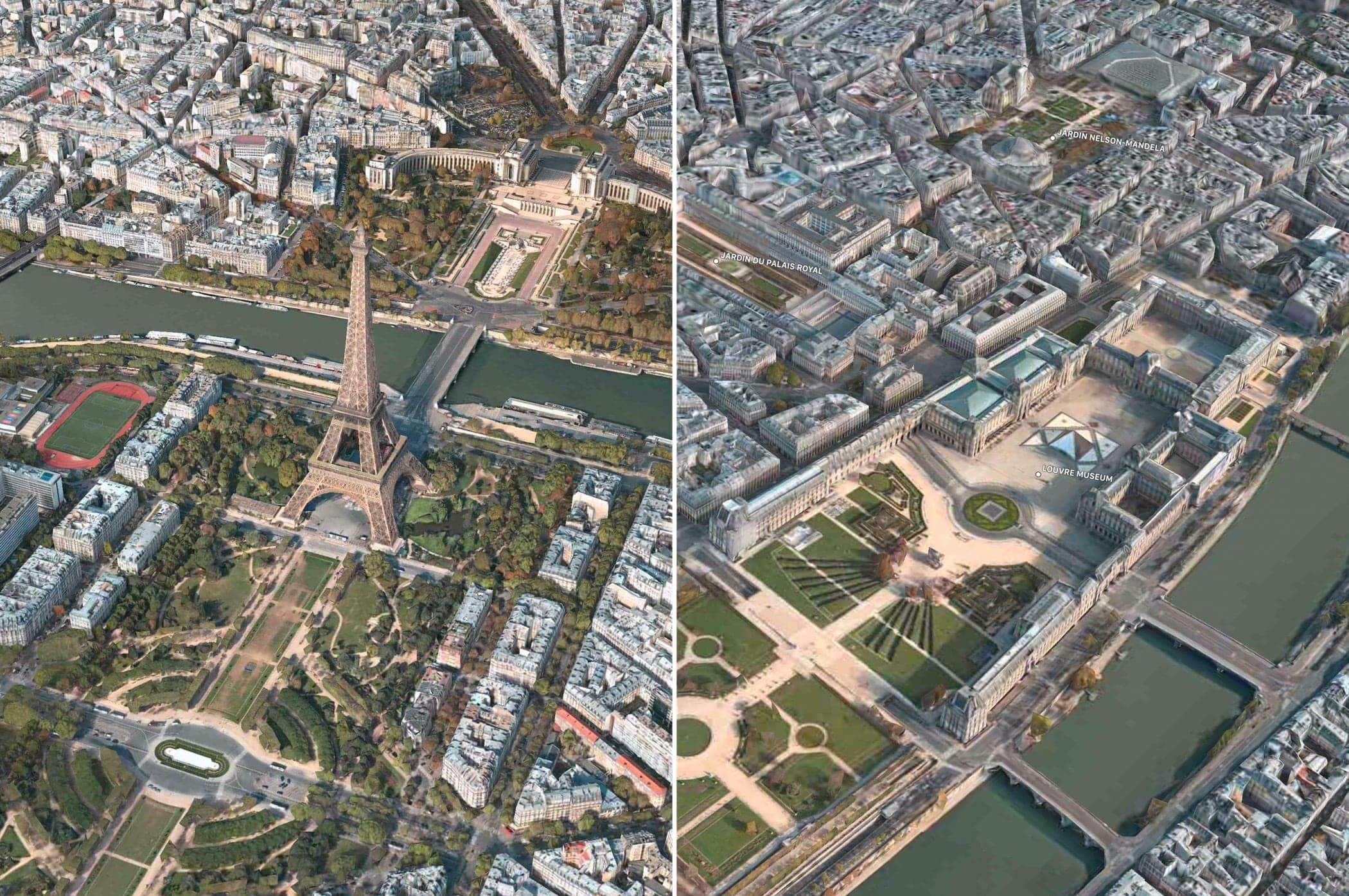 Apple Mapas Flyover Paris Dos Vistas