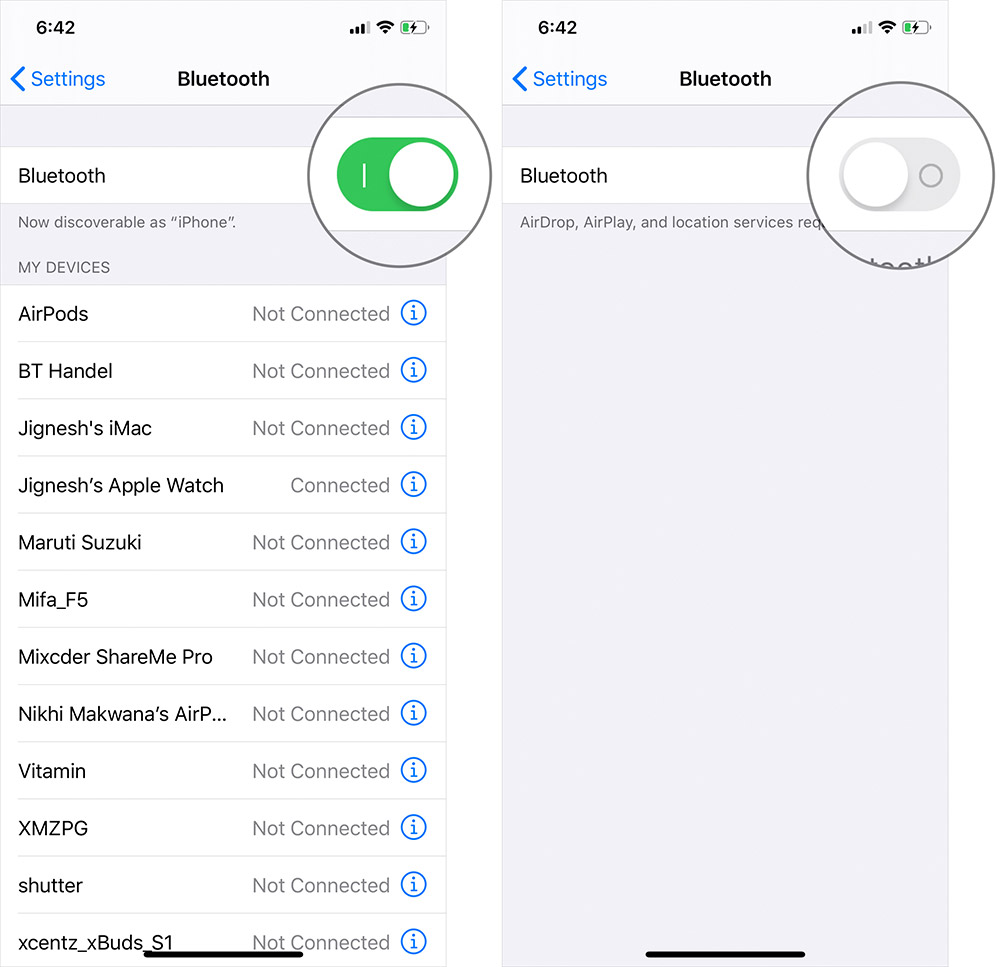 Desactiva Bluetooth en iPhone o iPad