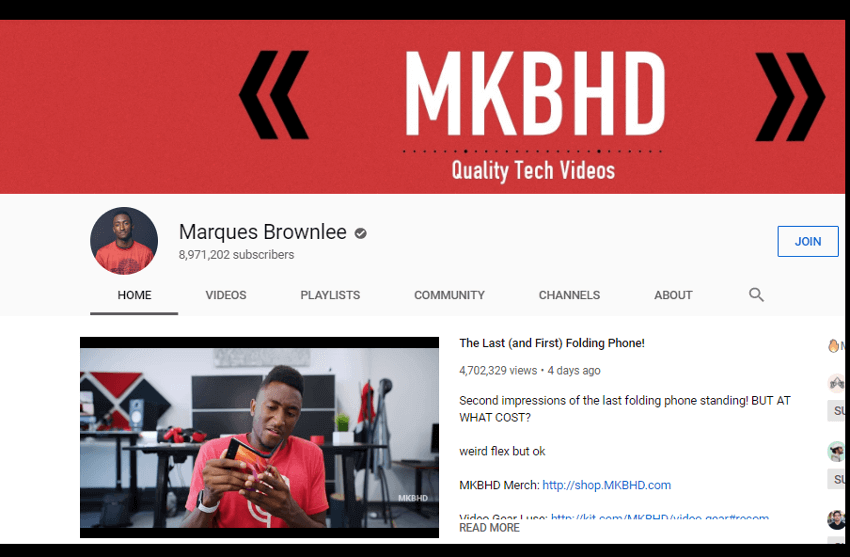 Marques Brownlee - YouTube Canal