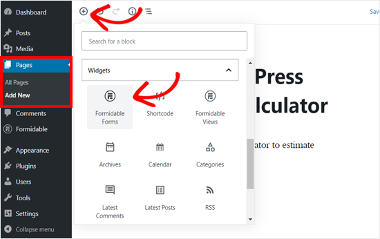 Agregue un bloque de formularios formidable en el editor de páginas de WordPress