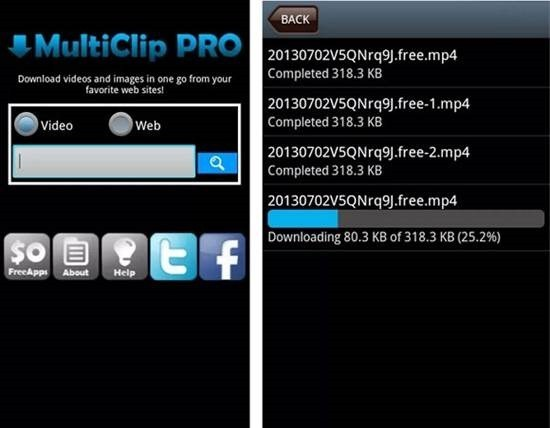 Multi Clip Video Download para Android