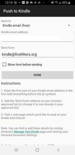Android Web para Kindle Empujar Kindle Email