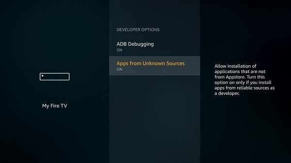 Habilitar la depuración de ADB: Amazon Fire TV Palo